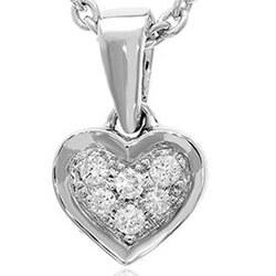 Hjerte diamant vedhæng i 14 karat hvidguld 0,05 ct
