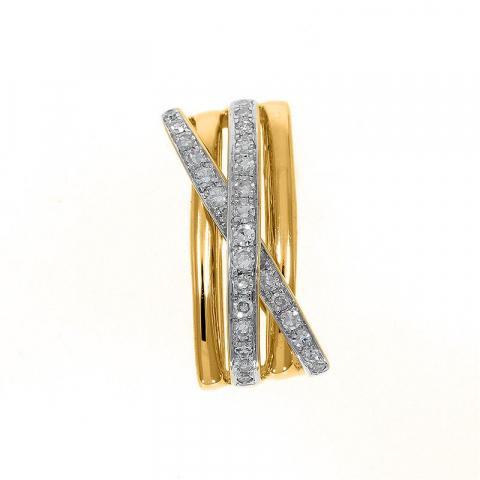 Abstrakt diamant vedhæng i 14 karat guld 0,18 ct