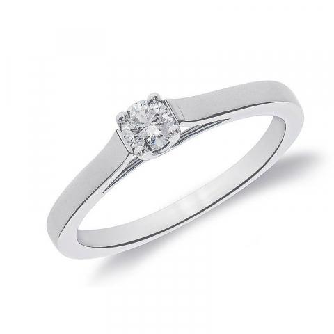 Ægte diamantring i 14 karat hvidguld 0,10 ct
