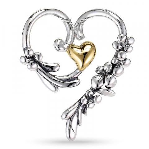 Flot hjerte vedhæng i oxideret sterlingsølv og forgyldt sølv