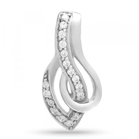 Elegant abstrakt zirkon vedhæng i sølv