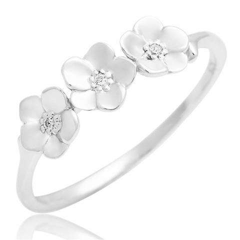 Smuk blomster zirkon ring i sølv
