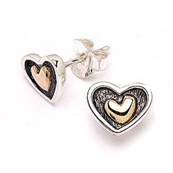 Hjerte øreringe i 8 karat guld med oxideret sterlingsølv med sølv