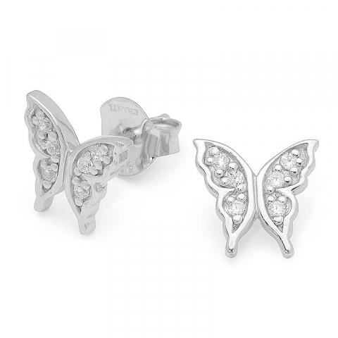 Søde sommerfugle zirkon ørestikker i sølv