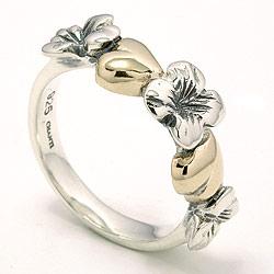 Flot blomster ring i oxideret sterlingsølv med 8 karat guld