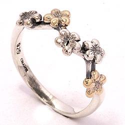 Ring i oxideret sterlingsølv med 8 karat guld