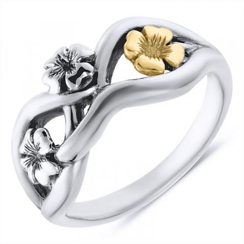 Smuk blomster ring i oxideret sterlingsølv med 8 karat guld