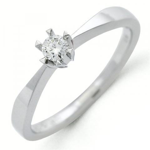 Kampagne - diamant ring i 14 karat hvidguld 0,10 ct