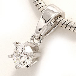Sødt diamant vedhæng i 14 karat hvidguld 0,20 ct