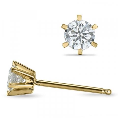 små diamant ørestikker i 14 karat guld med diamant