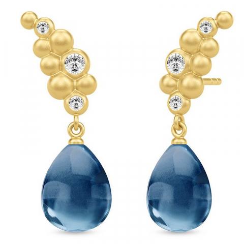 Elegante julie sandlau øreringe i sølv med 22 karat forgyldning blå krystaller hvide zirkoner