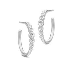 16 mm julie sandlau øreringe i satinrhodineret sterlingsølv hvide zirkoner