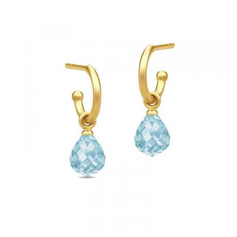 Julie Sandlau dråbe krystal halvcreoler i forgyldt sølv blå krystaller