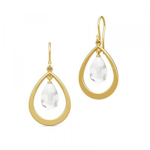 Moderne Julie Sandlau dråbeformet krystal øreringe i forgyldt sølv hvide krystaller